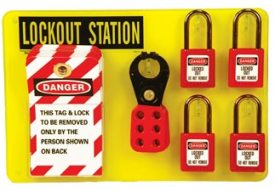 Lockout Tagout Station Small W/High Visiblity Acrylic Board