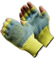 100% Kevlar, Medium Weight Fingerless Glove, PVC Dots Two Sides - 08-K259PDD