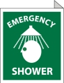 "Emergency Shower Double Faced Fianged Sign, 10"" x 8"", Rigid Plastic"