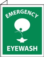 Emergency Eyewash Double Faced Flanged Sign