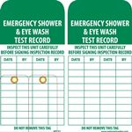 Emergency Shower & Eyewash Test Record Tag - 6X3 Inches, Vinyl