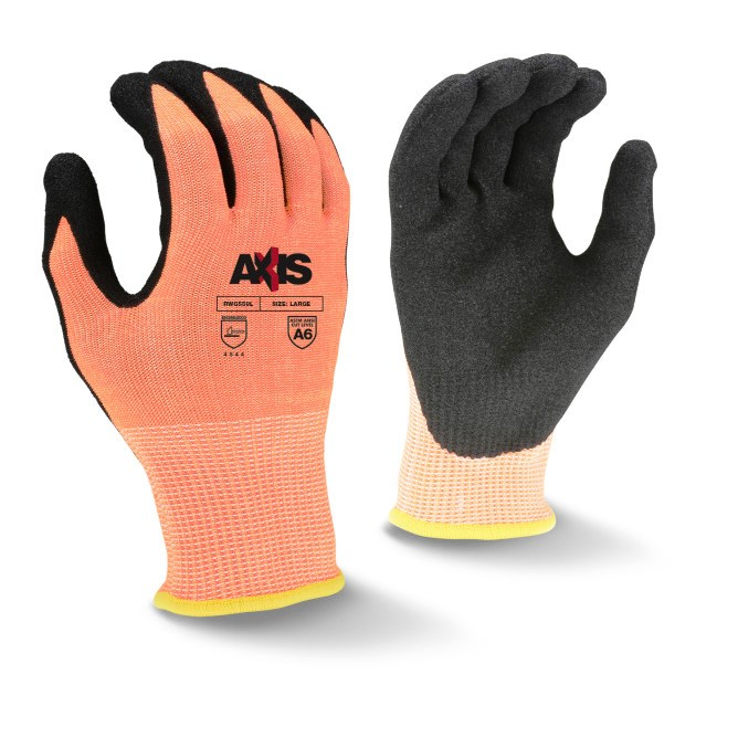 Radians RWG559L AXIS Cut Level 6 Sandy Nitrile Coated Glove, Large, Case of 120
