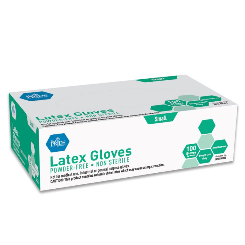 MedPride General Purpose Powder-Free Latex Gloves, Small Size, Case of 1,000