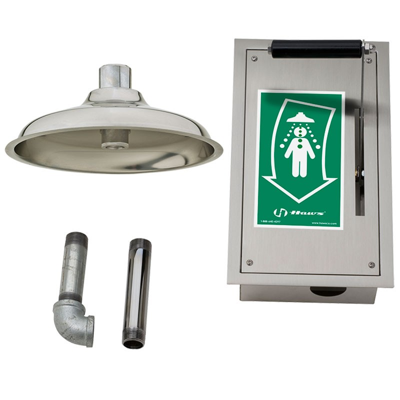 Haws 8164 Flush to Ceiling-Mounted Emergency Drench Shower