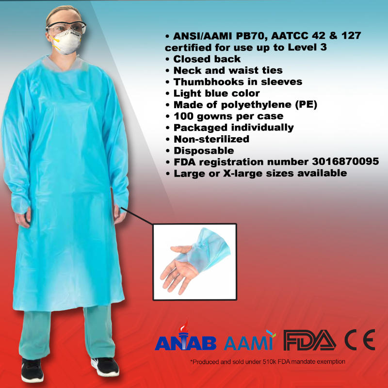 DWL Non-Surgical Isolation Gown - Level 1, Level 2, Level 3, Case of 100
