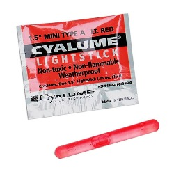 "Cyalume 4 Hour Mini Light Stick - 1-1/2"" Red Color - 9-86000, NSN # 6260-01-230-8600"